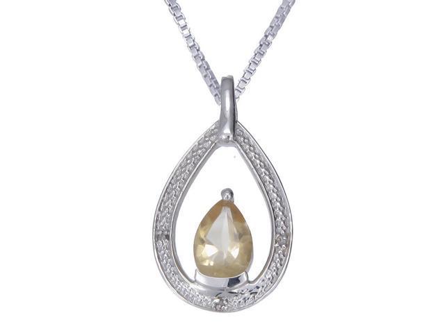 Silver Citrine & Diamond Pendant (1.70 CT) With 18 Inch Chain