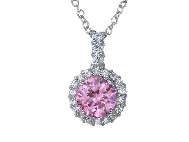 Sterling Silver Pink CZ Pendant With 18 Inch Chain (7 MM)
