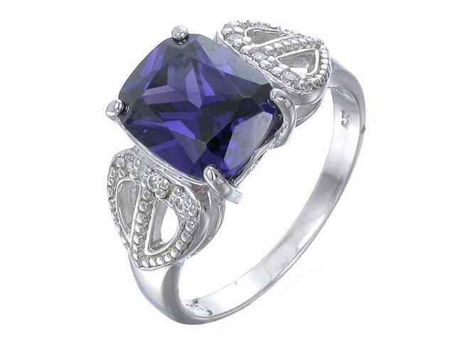 Sterling Silver Purple Ring Antique Look (10x8 MM) In Size 8