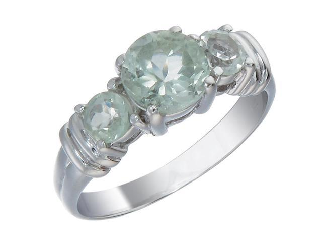 Sterling Silver Green Amethyst 3 Stone Ring (1.70 CT) In Size 7