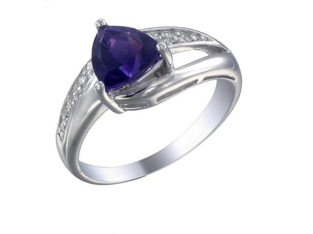 Sterling Silver Amethyst Ring (0.80 CT) In Size 7
