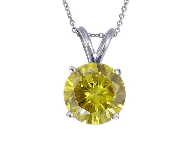 14K White Gold Yellow Diamond Solitaire Pendant (1 CT) With Chain