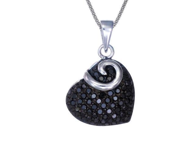 Silver Black Diamond Heart Pendant (0.85 CT) With 18 Inch Chain
