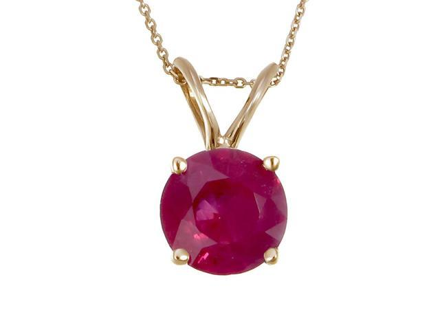 14K Yellow Gold Ruby Pendant (2 CT) With 18 Inch Chain