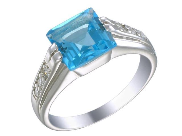 Sterling Silver Swiss Blue Topaz Ring (1.90 CT) In Size 8