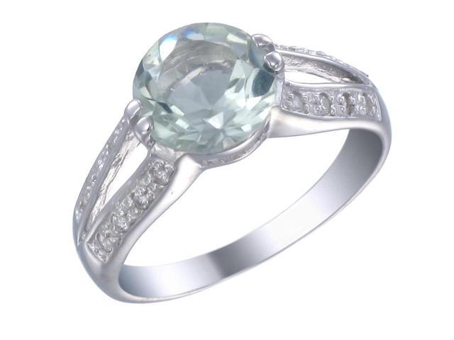 Sterling Silver Green Amethyst Ring (2.50 CT) In Size 9