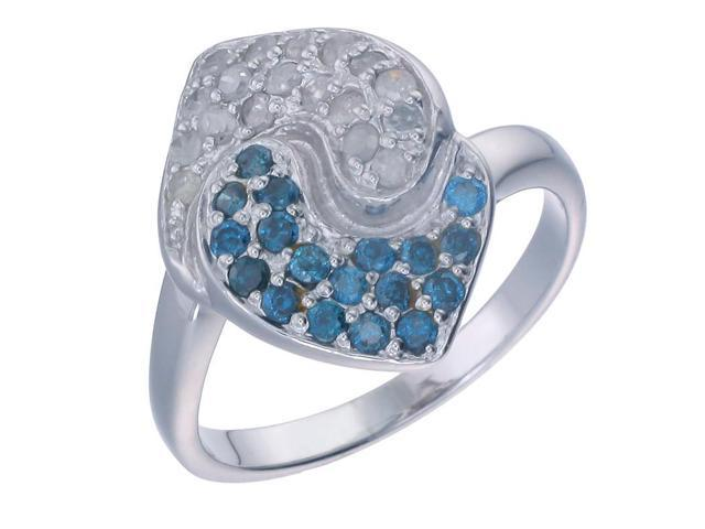 Sterling Silver Blue Diamond Ring (0.80 CT) In Size 8