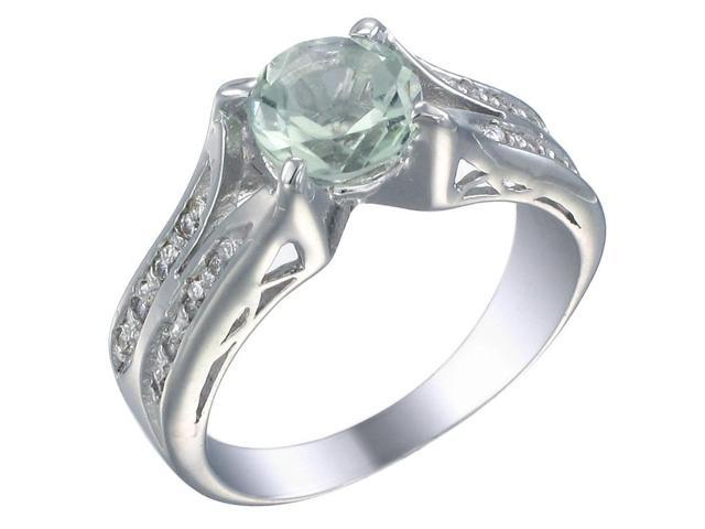 Sterling Silver Green Amethyst Ring In Size 8