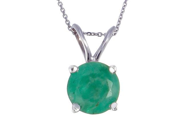 14K White Gold Emerald Pendant (2 CT) With 18 Inch Chain