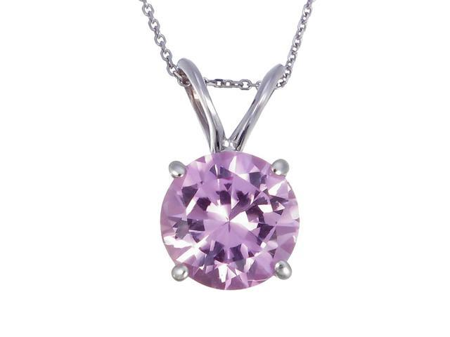 14K White Gold Pink Sapphire Pendant (1 CT) With 18 Inch Chain