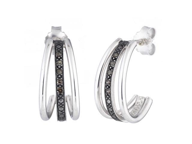 Sterling Silver Champagne Diamond Hoop Earrings (1/10 CT)