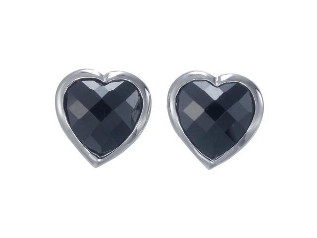 Sterling Silver Black Onyx Heart Earrings (6 MM)