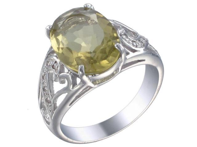 Sterling Silver Lemon Quartz Ring (5 CT) In Size 7