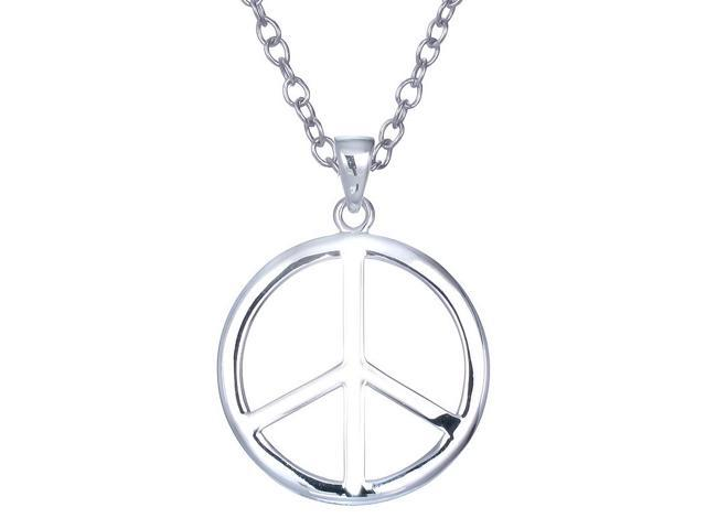 Sterling Silver Circle and Peace Pendant With 18 Inch Chain