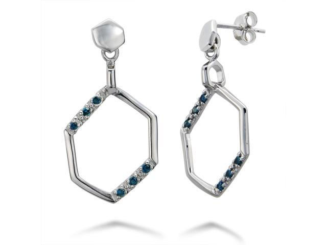Sterling Silver Blue Diamond Dangle Earrings (1/5 CT)