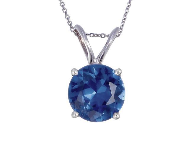 14K White Gold Blue Sapphire Pendant (1 CT) With 18 Inch Chain