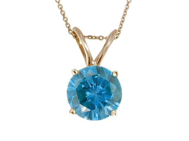 14K Yellow Gold Blue Diamond Solitaire Pendant (1 CT) With Chain