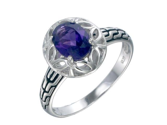 Sterling Silver Amethyst Ring (1.20 CT) In Size 8
