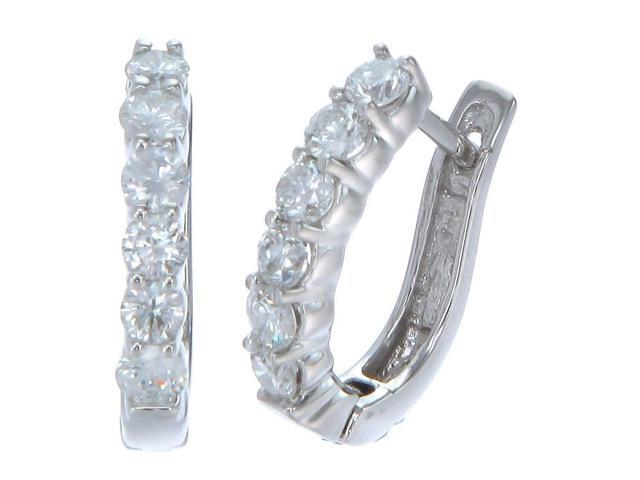 14K White Gold Diamond Hoop Earrings (1.60 CT)