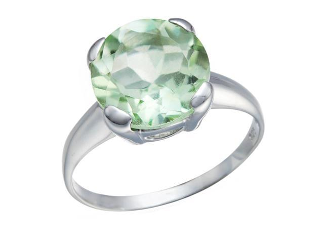 Sterling Silver Green Amethyst Ring (2.50 CT) In Size 6