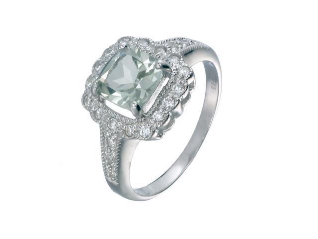 Sterling Silver Green Amethyst Ring (0.90 CT) In Size 5