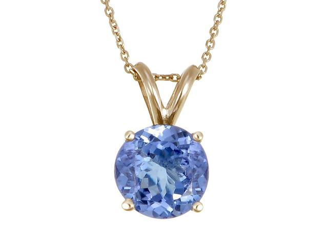 14K Yellow Gold Tanzanite Pendant (2 CT) With 18 Inch Chain