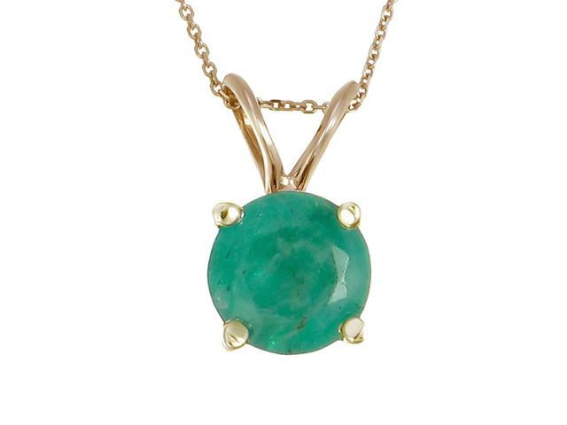 14K Yellow Gold Emerald Pendant (1 CT) With 18 Inch Chain