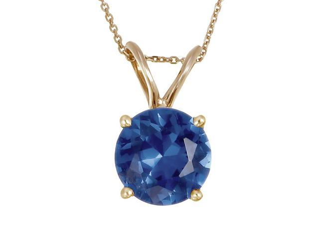14K Yellow Gold Blue Sapphire Pendant (2 CT) With 18 Inch Chain