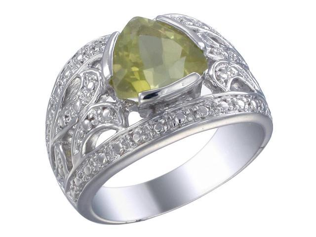 Sterling Silver Lemon Quartz Ring (2.25 CT) In Size 7