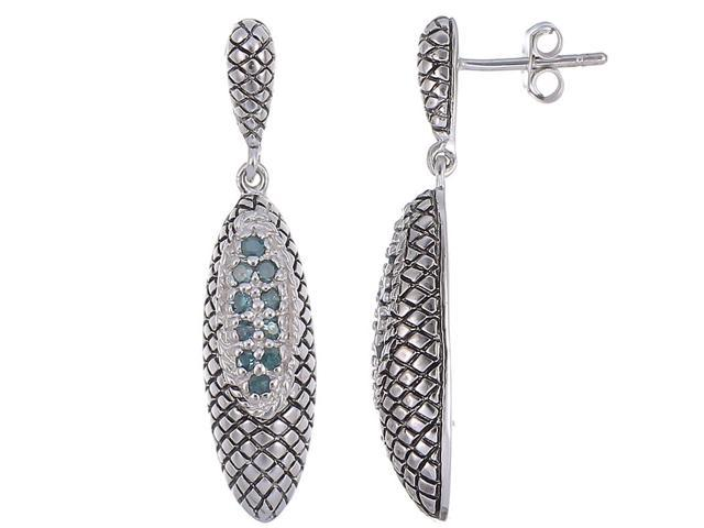 Sterling Silver Green Diamond Dangle Earrings Antique Look (1/4 CT)