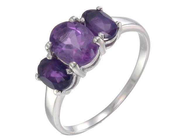 Sterling Silver Amethyst 3 Stone Ring (2.40 CT) In Size 9