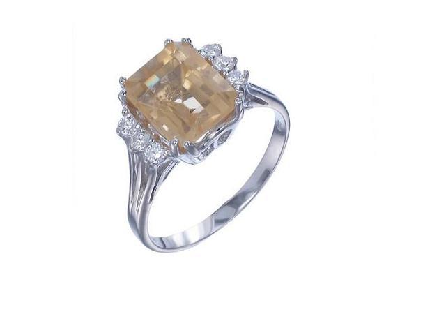 Sterling Silver Citrine Ring (2.80 CT) In Size 7