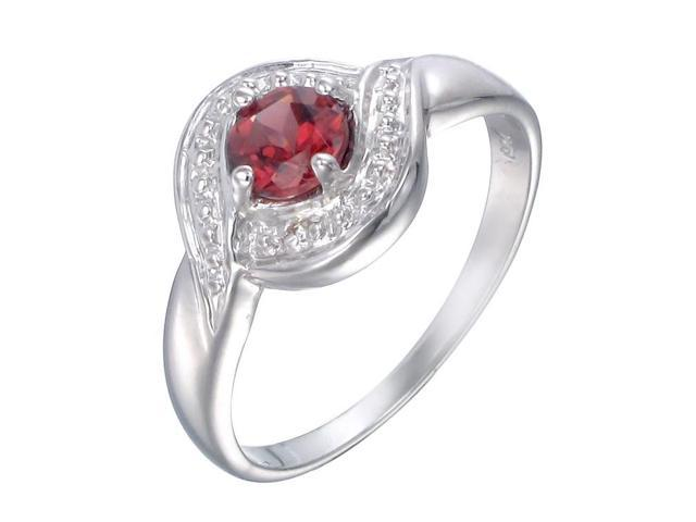 Sterling Silver Garnet Ring (1/2 CT) In Size 6