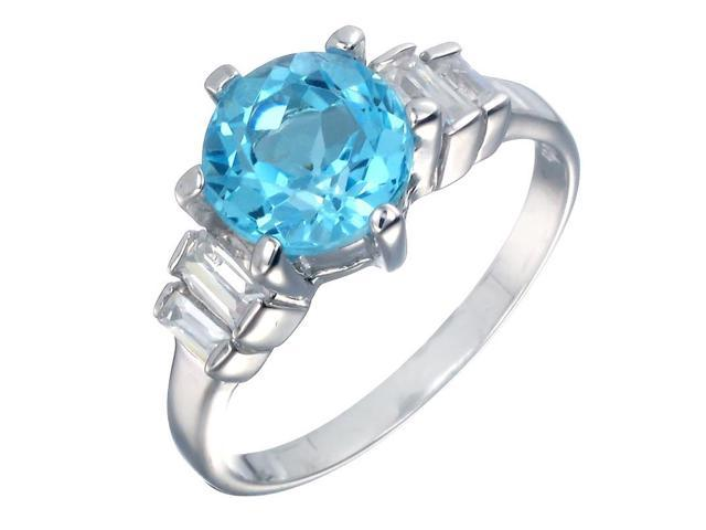 Sterling Silver Blue Topaz Ring (2.50 CT) In Size 7