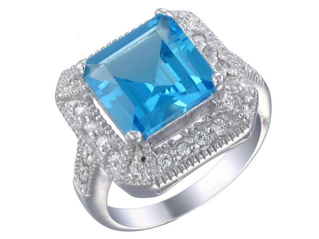 Sterling Silver Swiss Blue Topaz Ring (2.90 CT) In Size 7