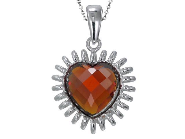 Sterling Silver Red Glass Heart Pendant With 18 Inch Chain
