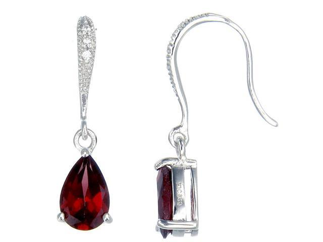 Sterling Silver Garnet Earrings (1 CT)