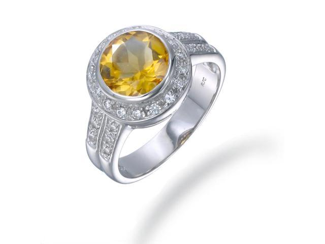 Sterling Silver Citrine Ring (1.70 CT) In Size 6