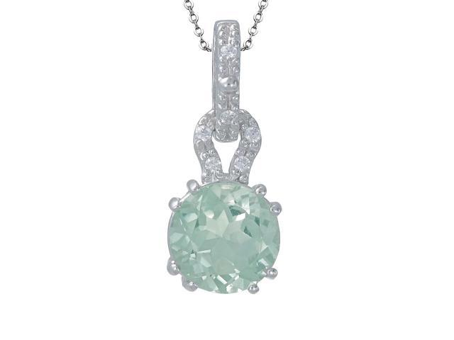 Sterling Silver Green Amethyst Pendant (3 CT) With 18 Inch Chain