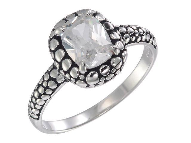 Sterling Silver CZ Ring With Antique Finish (8x6 MM) In Size 7