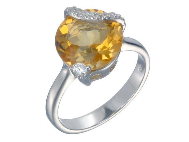 Sterling Silver Citrine Ring (4 CT) In Size 7