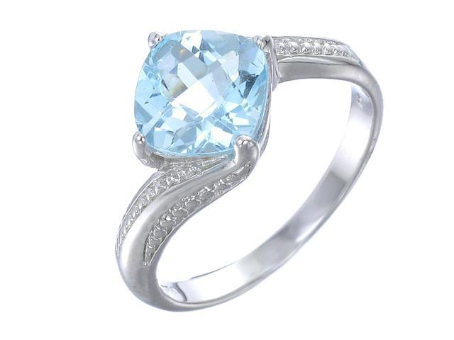 Sterling Silver Blue Topaz Ring (2 CT) In Size 7