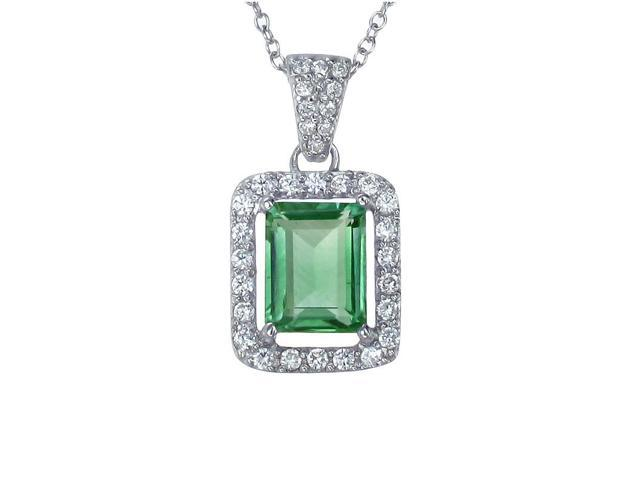 Sterling Silver Green Topaz Pendant (3 CT) With 18 Inch Chain