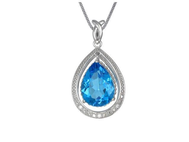 Sterling Silver Blue Topaz Pendant (7 CT) With 18 Inch Chain