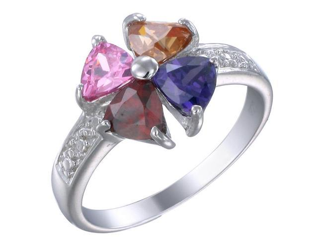 Sterling Silver Multi-Gemstone Ring In Size 8