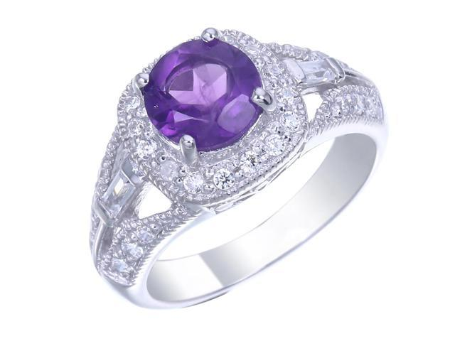 Sterling Silver Amethyst Ring (0.85 CT) In Size 8