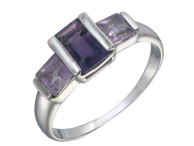 Sterling Silver Amethyst 3 Stone Ring (1 CT) In Size 8