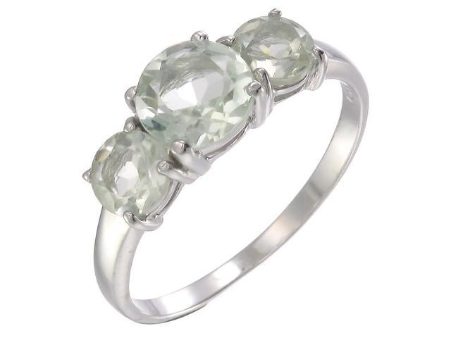 Sterling Silver Green Amethyst 3 Stone Ring (2.20 CT) In Size 7