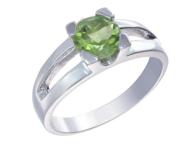 Sterling Silver Peridot Ring (0.65 CT) In Size 9