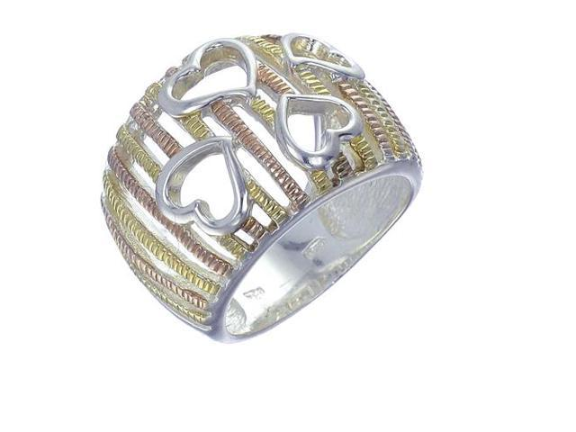 Yellow Gold Plated Sterling Silver Heart Ring In Size 5